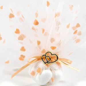 10 STÜCK Bonboniere mit Herzen pfirsich und Herzen gold