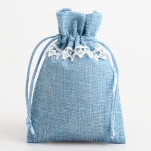 Leinensäckchen mit Spitze – Blau – 10 x 14cm – (10 Stück)
