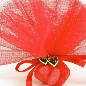 10 STÜCK Hochzeitsbonboniere mit Doppelherz gold, rot