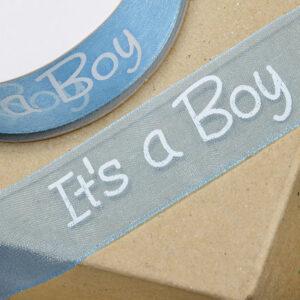 Organzaband It's a boy blau, 25 mm, 25 m